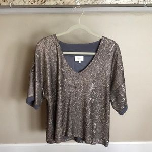 Anthropologie Deletta Sequined Blouse